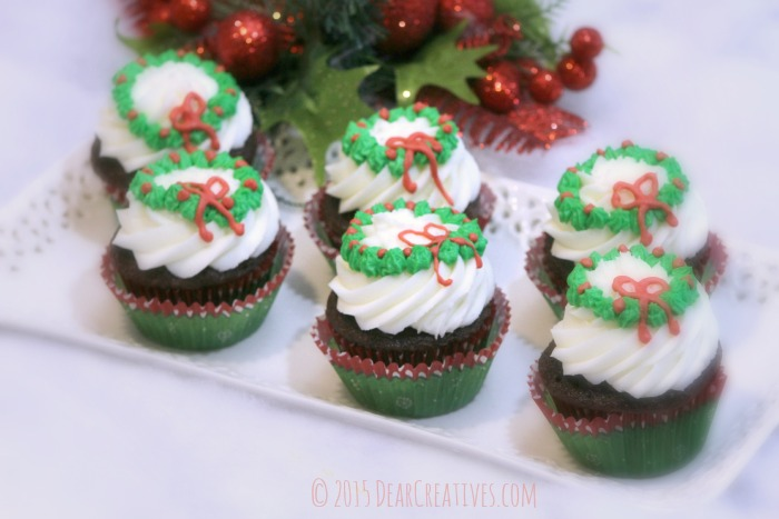 Wreath Cupcakes Frosting and Icing Recipe Holiday Cupcakes Recipe- make these for any Christmas party or celebration.