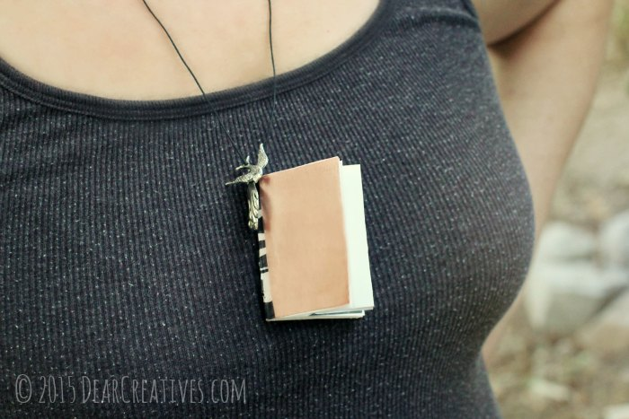Mini Book Necklace - how to instructions for how to make a mini book necklace - DearCreatives.com