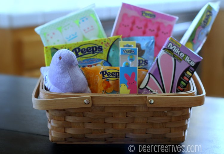 gift baskets peeps candies in a wicker basket