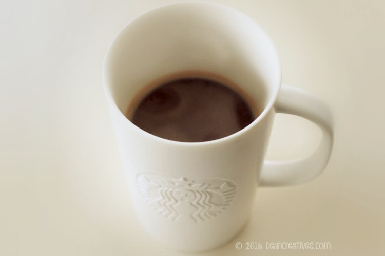hot chocolate in a cup | Starbucks hot cocoa brewed from a K Cup in a Starbucks mug