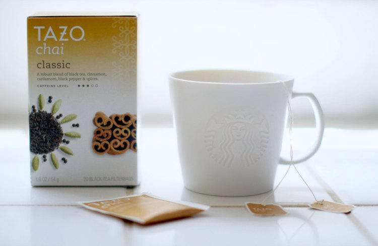 Drinks | Box of Tazo Chai Tea and Starbucks coffee cup