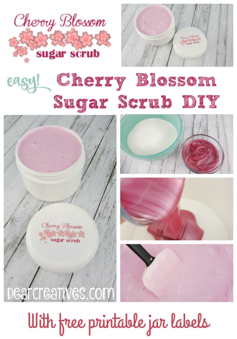 Are you looking for an easy sugar scrub to make? Try this cherry blossom sugar scrub. Easy to follow instructions and free printable jar labels. Make it for yourself or as a gift. DearCreatives.com