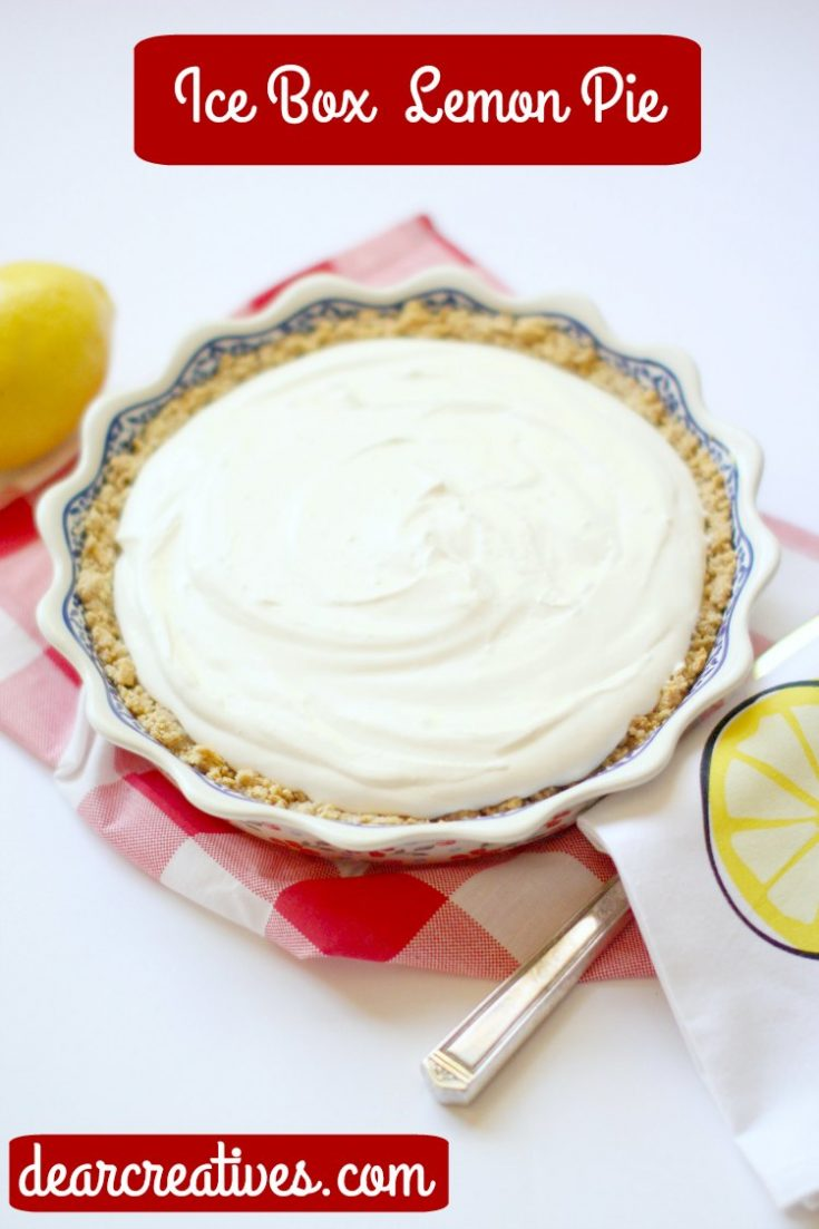 Lemon Icebox Pie - Delicious,  no-bake, lemon icebox pie recipe that is so easy to make! Grab this lemon dessert recipe for all your spring celebrations, or summer celebrations or anytime you are craving a lemon pie!  Pie recipe at DearCreatives.com #lemoniceboxpie #lemoniceboxpierecipe #lemonpie #nobake #easy #iceboxpie #lemon #grahamcrackercrust #delicious #refreshing