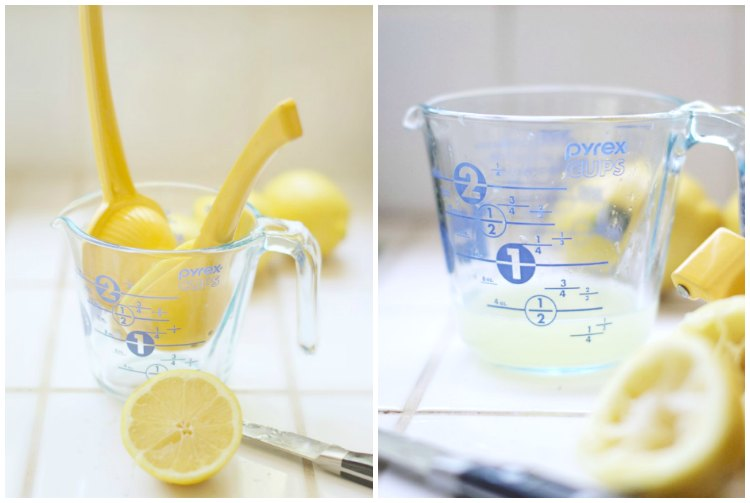 no bake desserts | lemon squeezer and lemon juice in a measuring cup