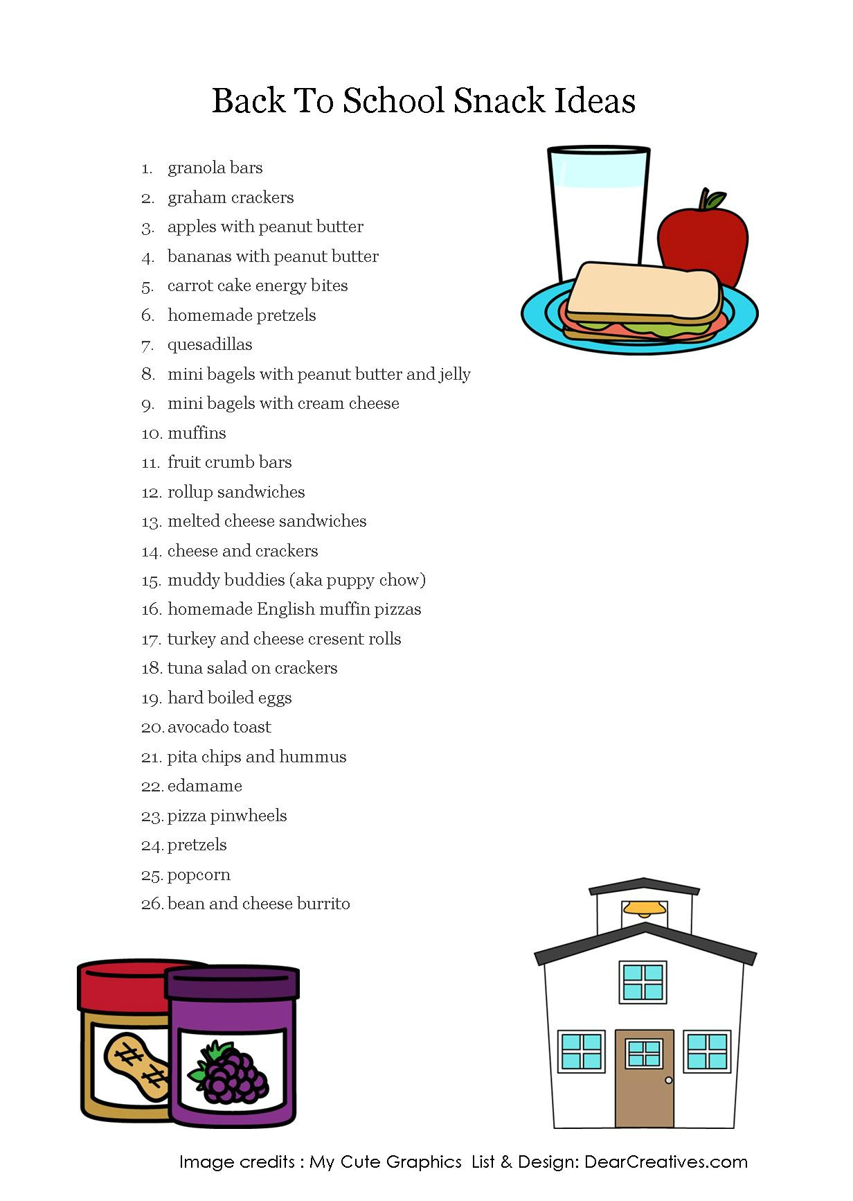 Back To School Snack Ideas Free Printables