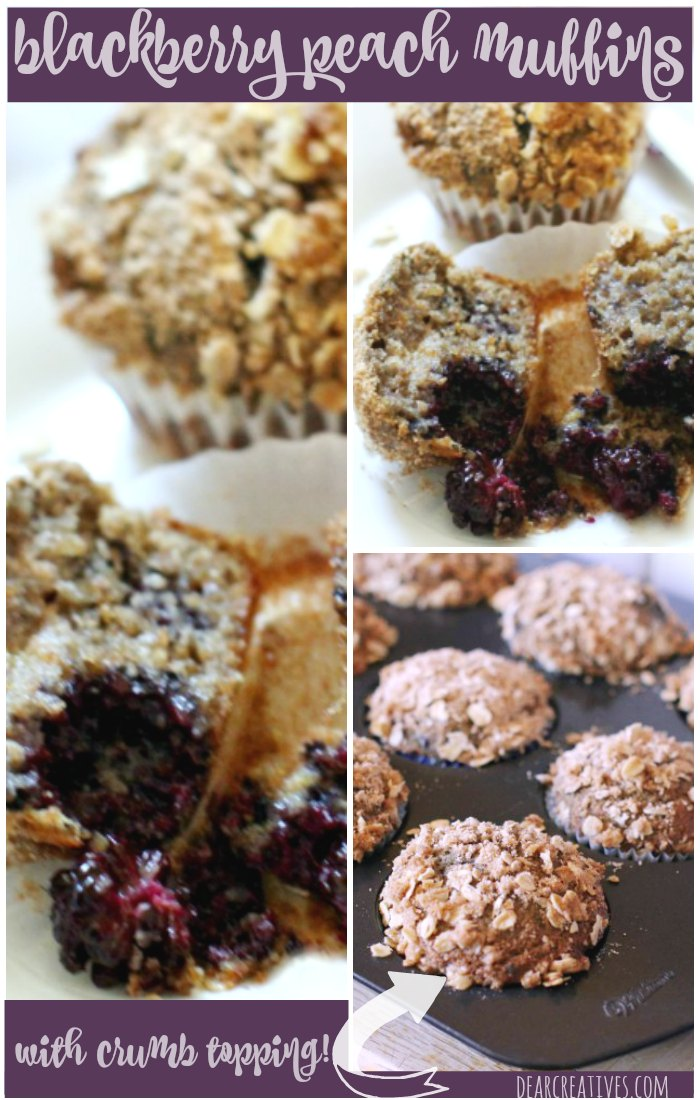 Blackberry Peach Muffins With Crumb Topping