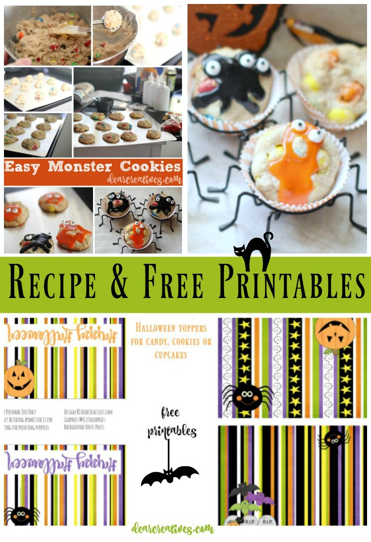 Baking: Easy Halloween Monsters Cookies And 2 Free Halloween Treat Topper Printables