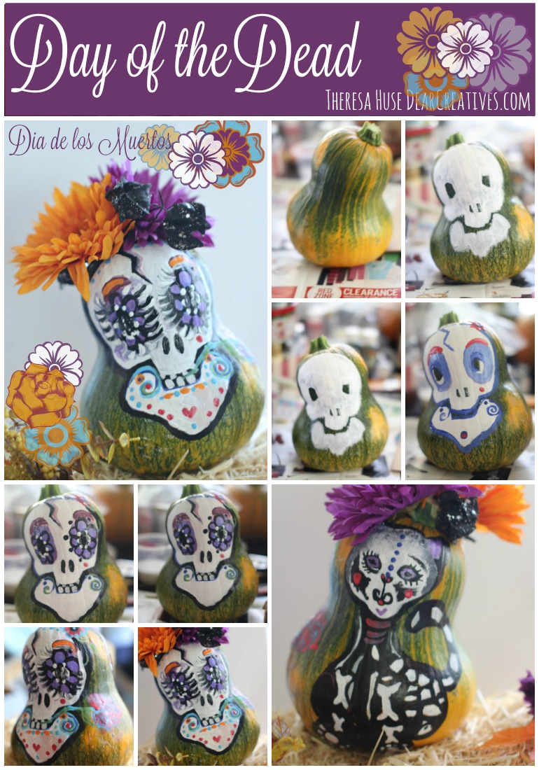 How to paint a sugar skull on a pumpkin for Halloween or Dia de los Muertos - Day of the Dead - Step by step how to paint a skull on a pumpkin