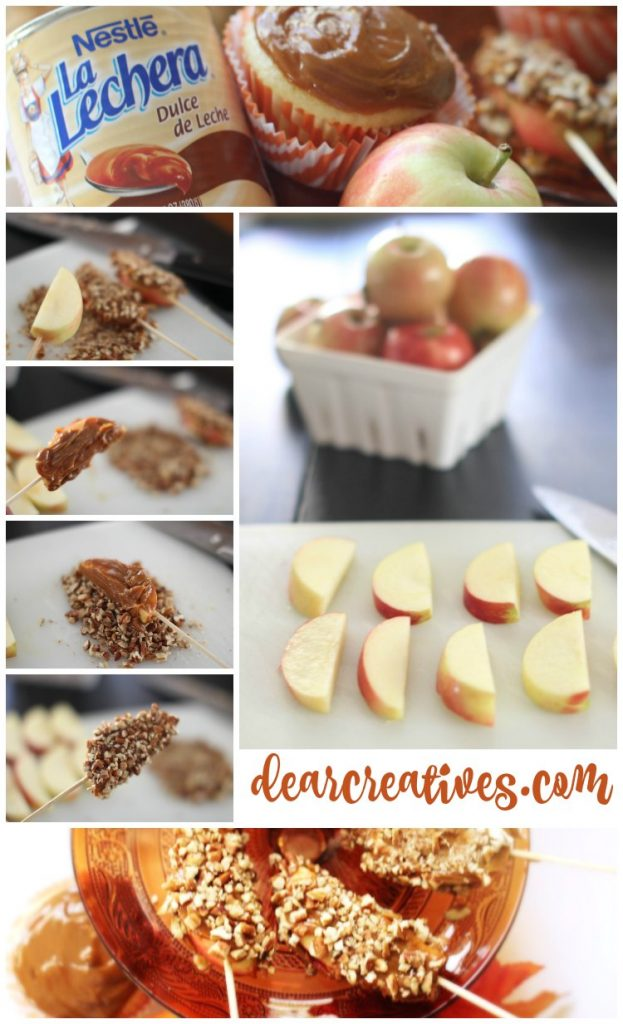 fall-dessert treat recipes, treat ideas for fall, vanilla caramel apple cupcakes, caramel apple slices and other easy fall treat ideas you'll love