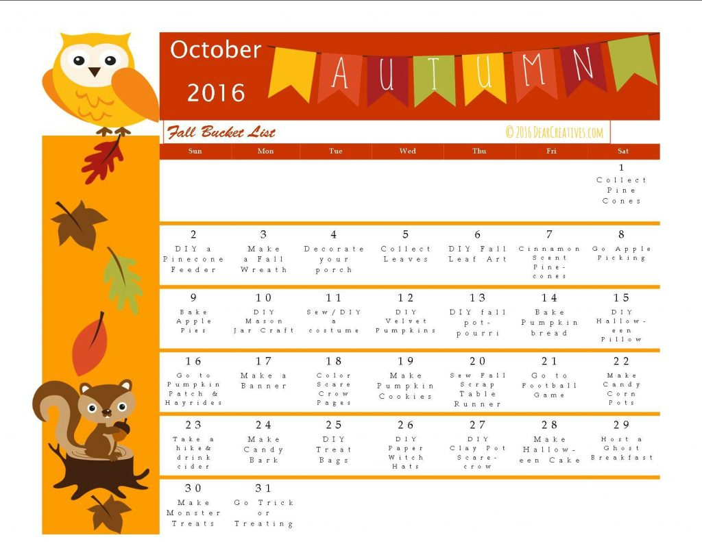Fun Fall Activities: Free Printables Calendar With Bucket