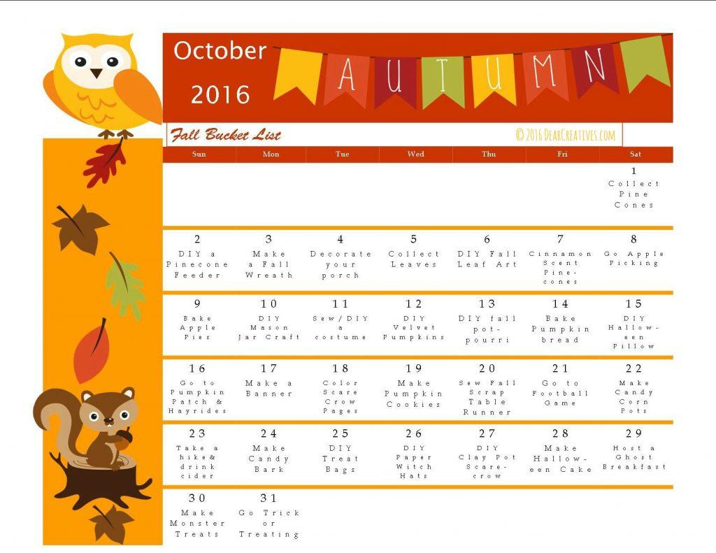 Blank Calendar Kid Friendly : Fun fall activities bucket list of craft ideas and