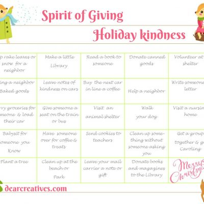 Holiday Spirit And Kindness Free Printables Holiday Spirit Calendar