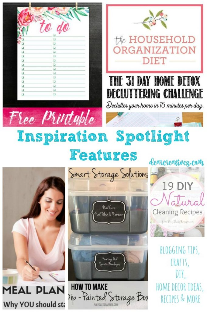 Linkup Party Inspiration Spotlight home decor ideas for organizing, meal planning and natural cleaning recipes, along with free printables and more ideas for you.
