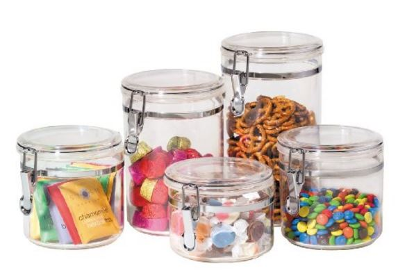 Home Storage Pantry Oggi 5 Piece Canister Set with airtight clamp
