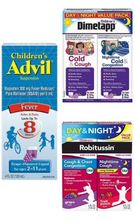 #sickjustgotreal ad children's advil, Dimetapp and Robitussin