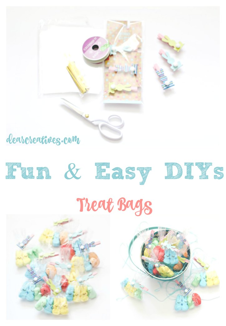 Fun and Easy DIYs Treat Bags. This is a quick project under 30 minutes that can be for a party, Easter or other celebration.You'll love how easy this Peeps DIY craft project is. #treatbags #party #Easter #easter #crafts #spring