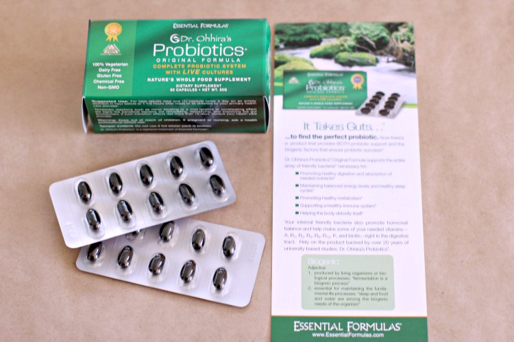 healthy lifestyle probiotics © 2017 Theresa Huse- leaflet and probiotics out of the carton in packaging.