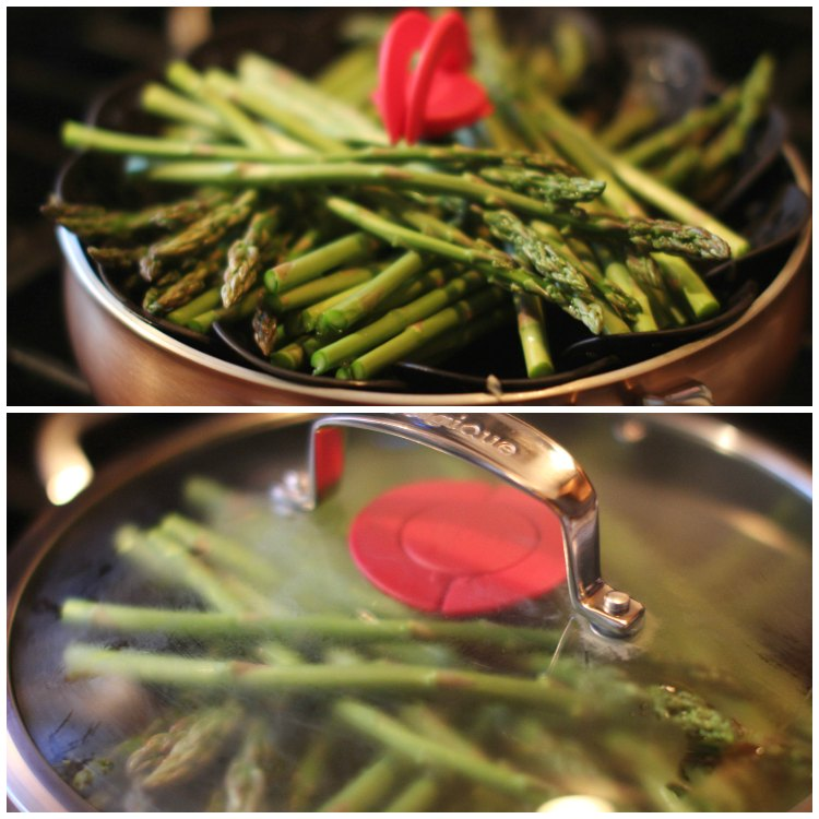 in the kitchen cooking asparagus in a steamer dearcreatives.com