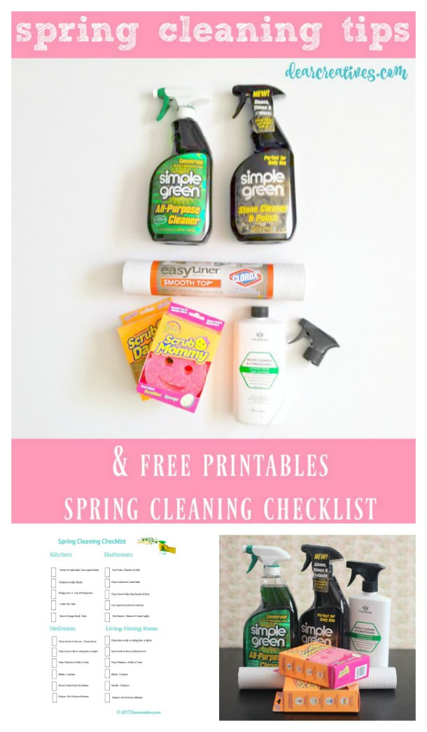 Spring cleaning doesn't have to be daunting. With a few tips, tricks, cleaning supplies and a free printables spring cleaning checklist your home will be sparkling clean in no time flat!