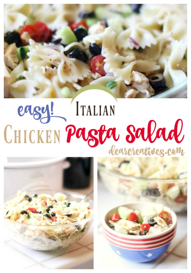 Pasta Salad Recipe. This Italian Chicken Salad Pasta Recipe is a quick and easy recipe that can be served anytime of year. You'll love this for a picnic, backyard party or brunch. This recipe also can be used for a light summer dinner.