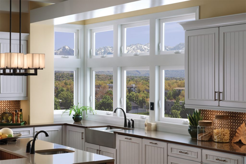 "Tuscany Milgard Windows in a modern kitchen"" width="