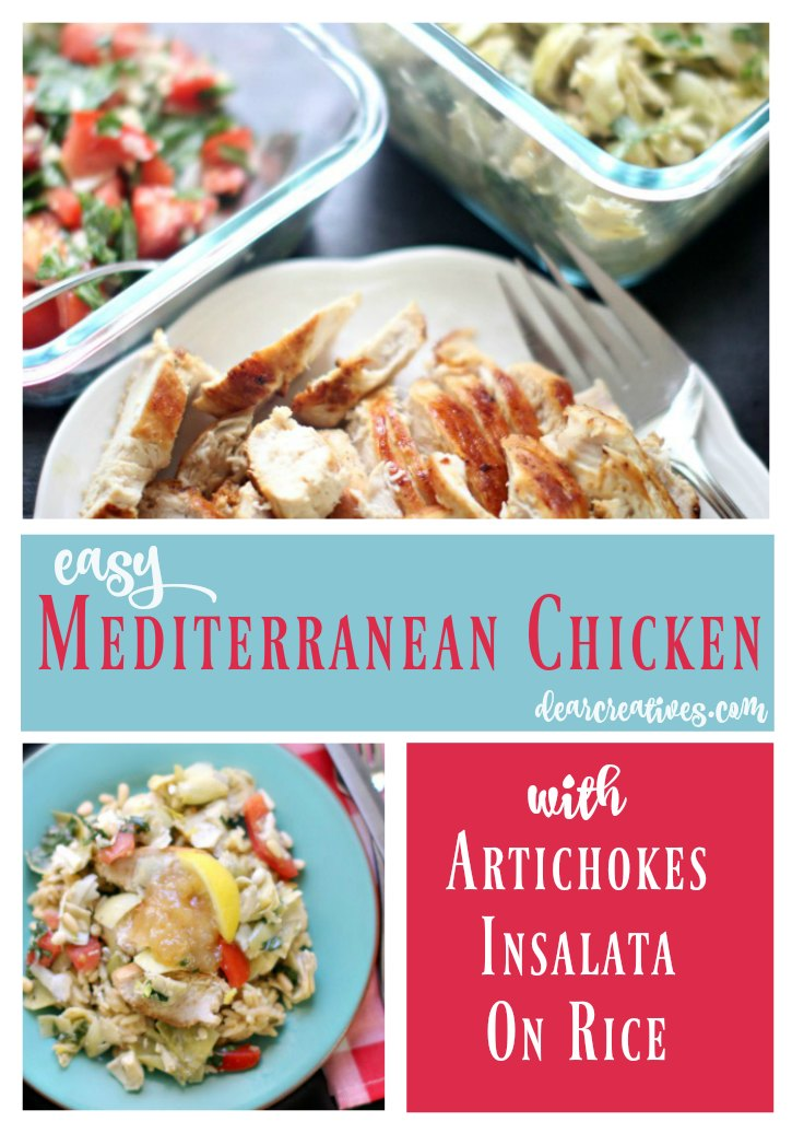 Mediterranean Chicken With Artichokes Insalata On Rice is one of our easy chicken recipes. Inspired by Italian cooking this recipe is ready in under an hour. You can serve it separate or plated all together for a delicious and flavorful combination. Use rice or risotto, or keep it light and omit them. Either way you'll love this recipe. head over to grab the recipe and see how easy it is to make! DearCreatives.com