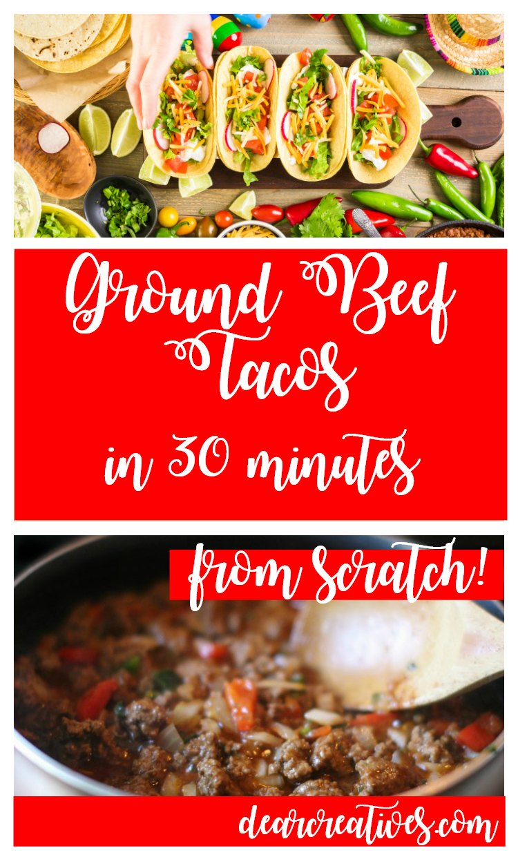 The Best Homemade Ground Beef Tacos restaurant style in 30 minutes! Just perfect for tacos, burritos or taco salads. You'll love this ground beef taco meat recipe. Find it and more at DearCreatives.com