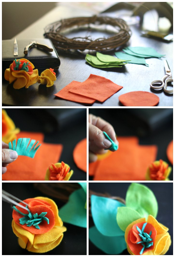 How to decorate a grapevine wreath with felt. Full Tutorial at DearCreatives.com