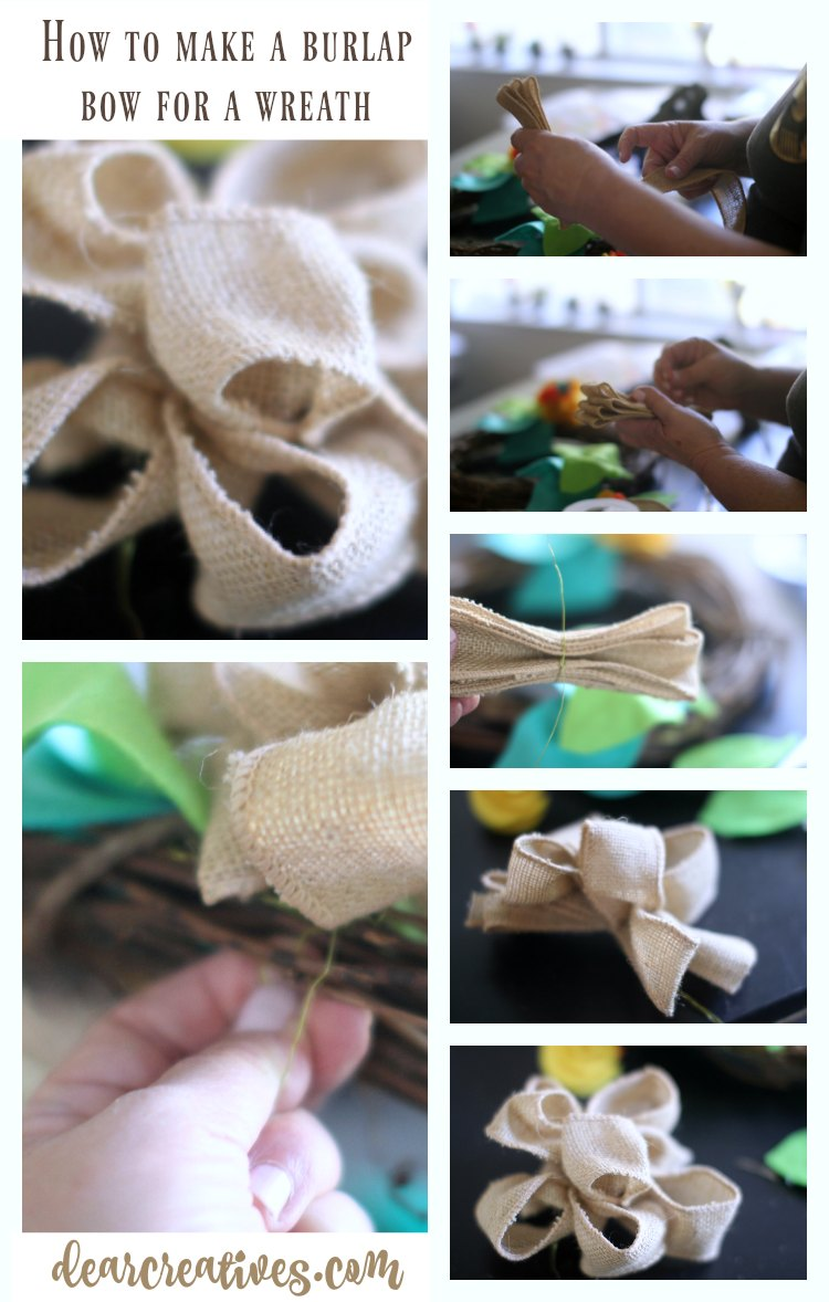 How to make a burlap wired bow for a wreath See full tutorial DearCreatives.com