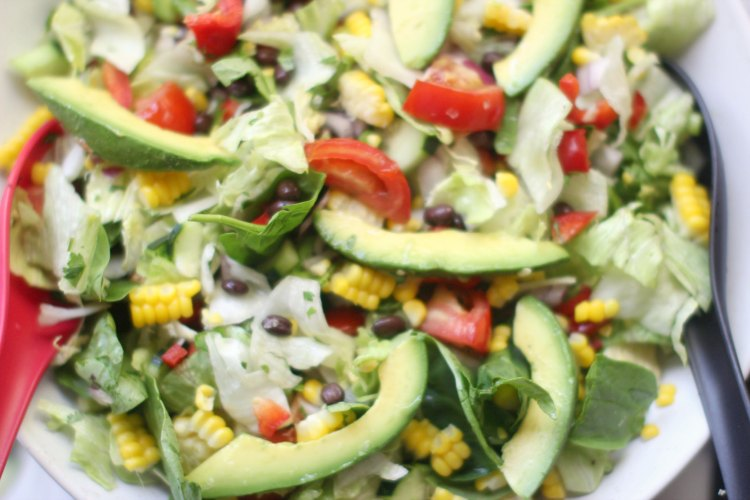 Salad with black beans, avocado and corn. Close up of the Southwest Salad Recipe- DearCreatives.com
