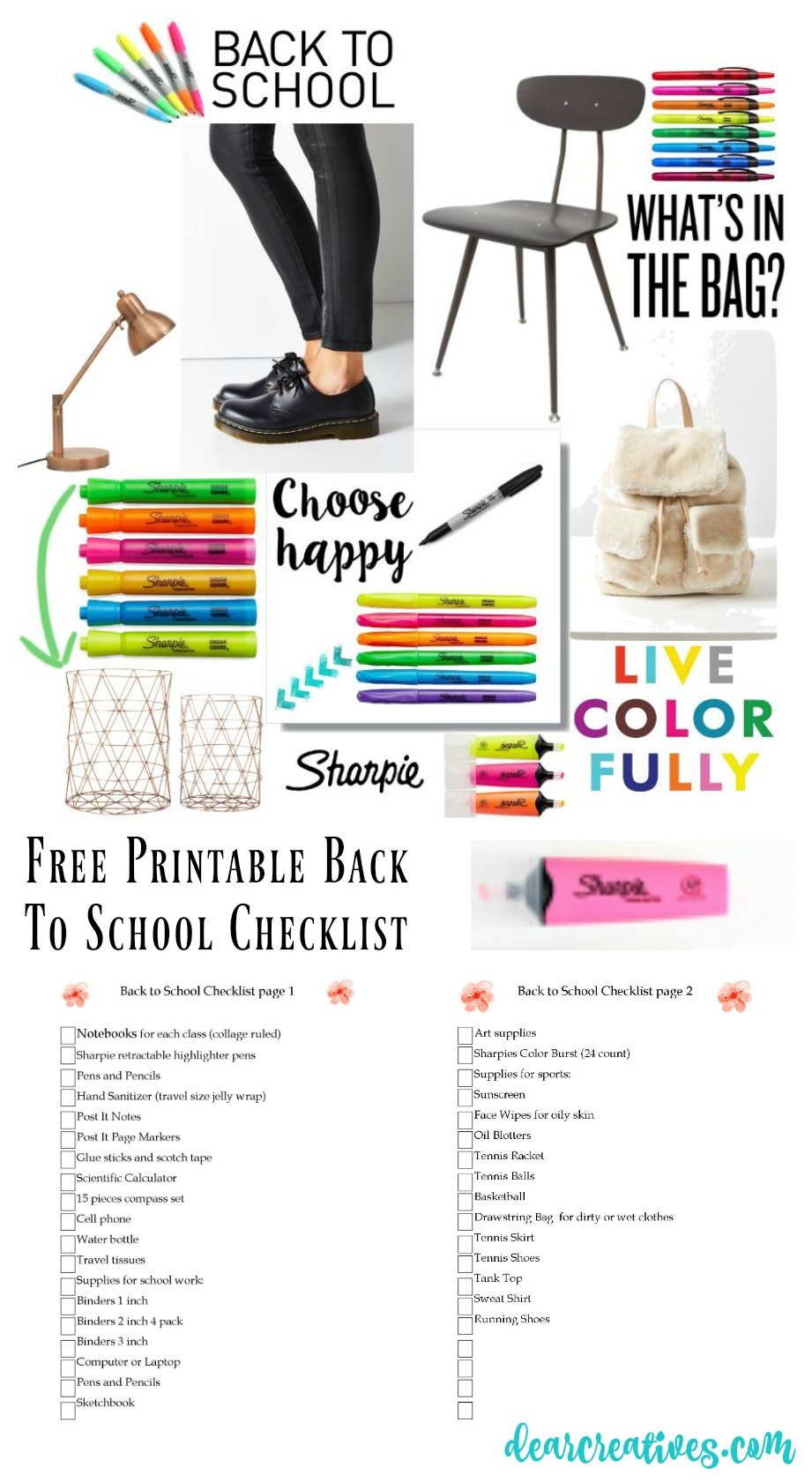 Back To School Checklist for Teen Girls Plus two free printables to make shopping and restocking easy to help you stay organized during the school year. DearCreatives.com