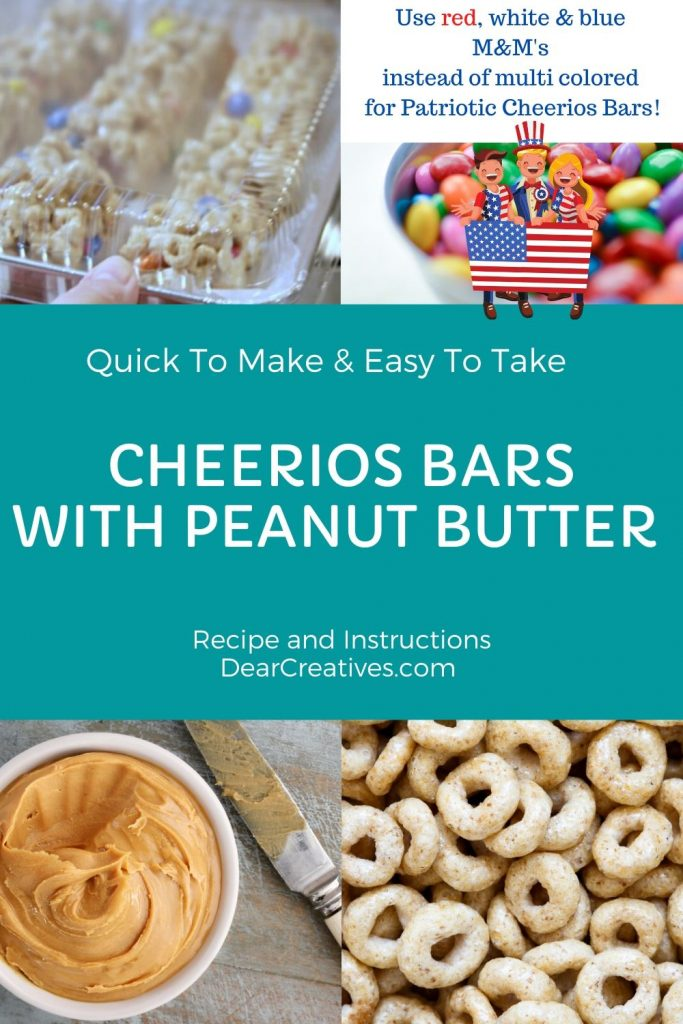 Cheerios Bars With Peanut Butter - Cheerios Bars With Peanut Butter These cheerios treats can be made with different colored M&M's to go with your party themes! No-Bake Treat With Cheerios, peanut butter, marshmallows and M&M's... Example use red, white and blue M&M's to make a patriotic treat! Grab the treat recipe at DearCreatives.com