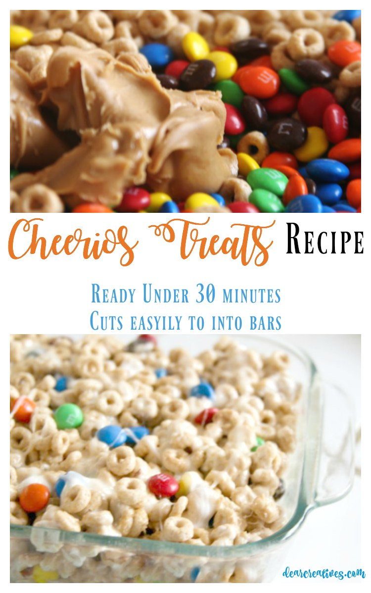 Cheerios Treats Recipe Ready under 30 minutes cuts easily into bars. Serve at parties, Halloween or after school snacks. It's a great cereal dessert treat.