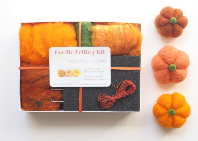 Craft Kit Needle Felting for 3 pumpkins