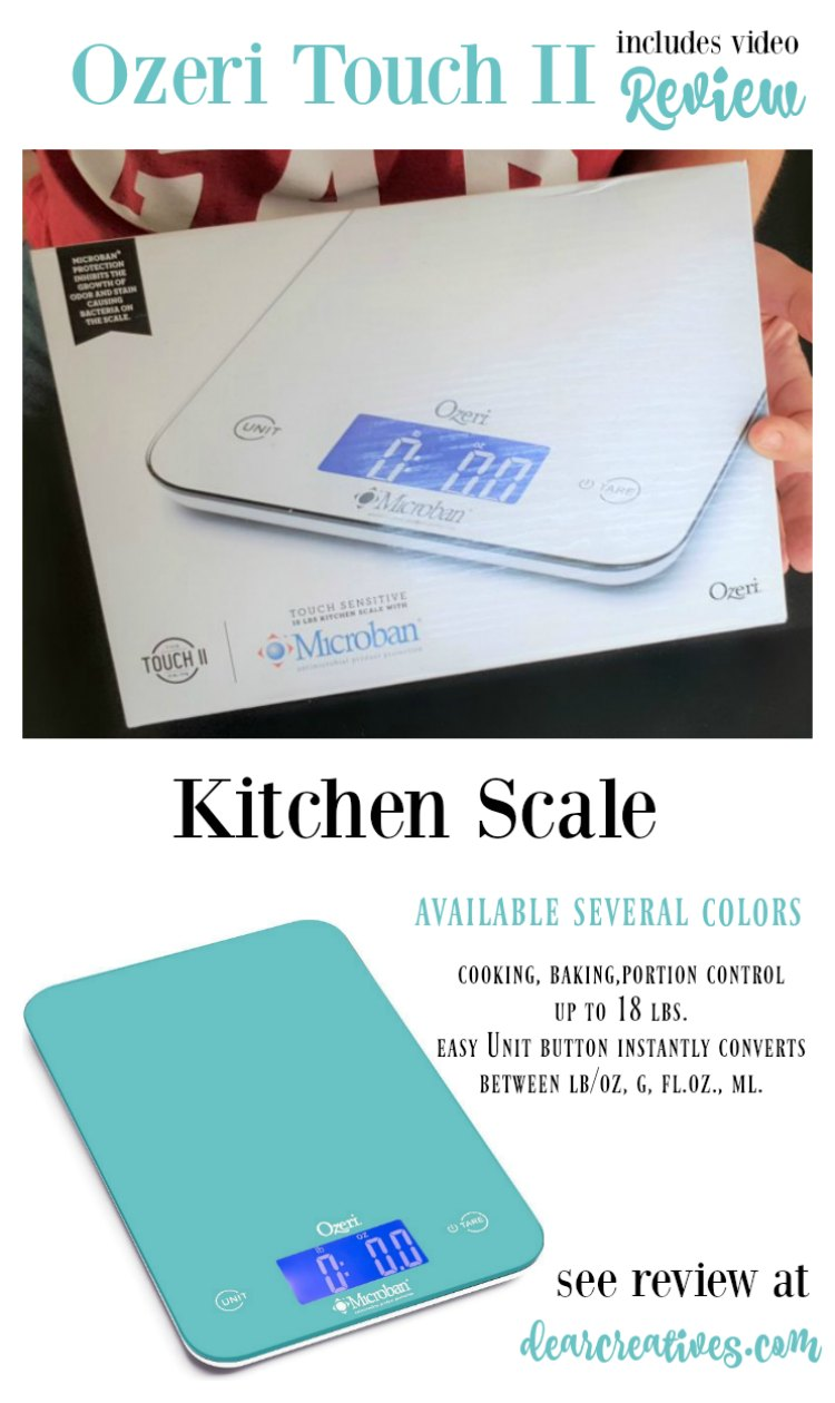 Ozeri Touch II Kitchen Scale Review This kitchen scale is handy for cooking, baking, portion control. See video review and find out more at DearCreatives.com