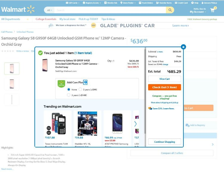 Samsung Galaxy S8 Cell phone added to cart amd with free shipping from Walmart