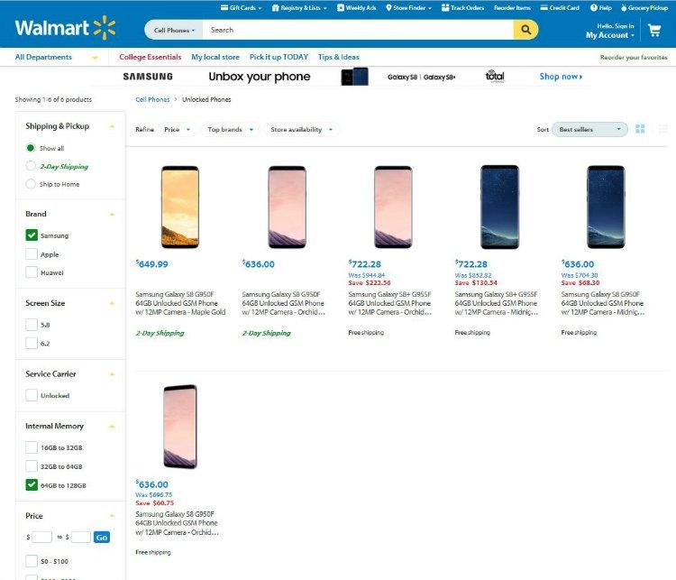 Samsung Galaxy S8 and Samsung Galaxy S8 plus online at Walmart