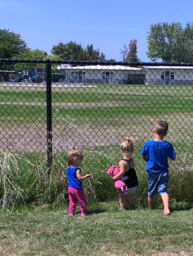 kids playing on the grass by a school