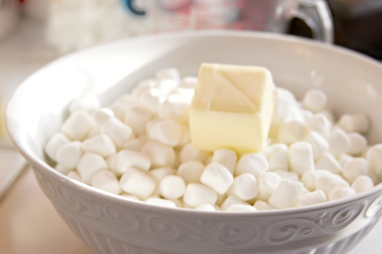 marshmallows and butter ready to go into microwave for Cherrios treats