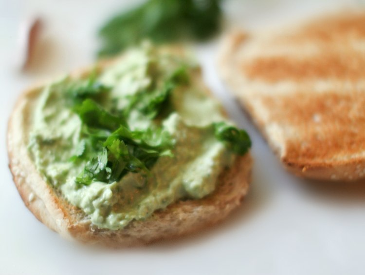 turkey hamburgers - DearCreatives.com hamburger bun with avocado dressing and chopped cilantro