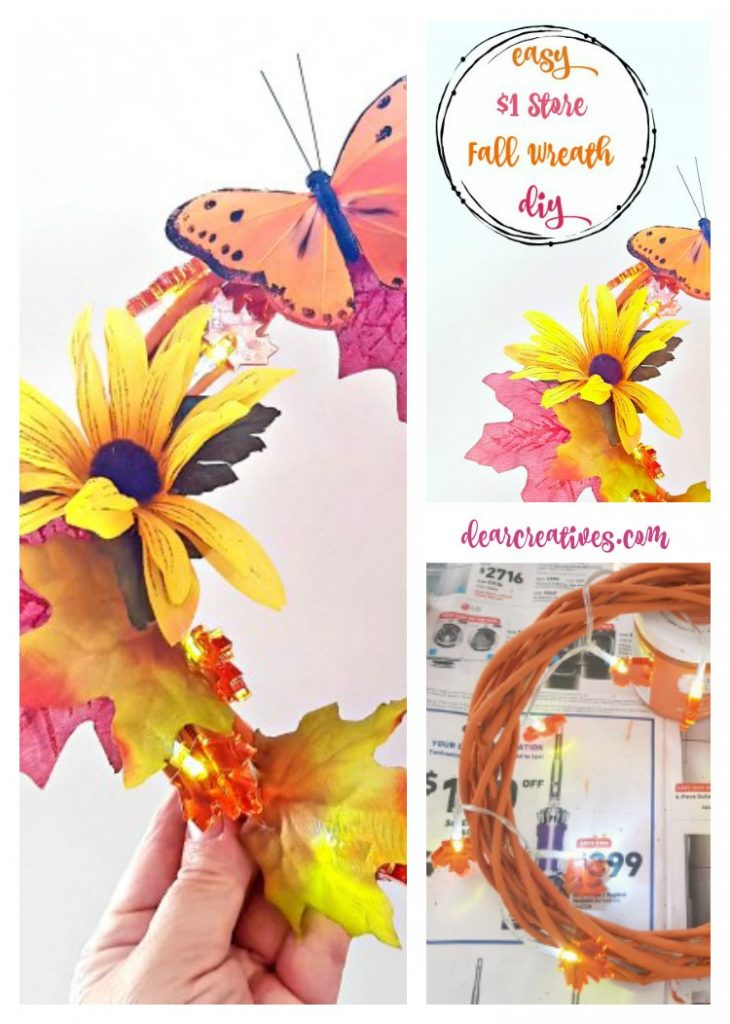 Easy and inexpensive way to decorate a wreath that doesn't look cheap. See this fall craft project, all our all grapevine wreath tutorials. Make one now! See how DearCreatives.com