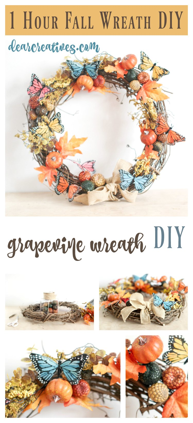 How To Decorate A Nature Inspired Grapevine Wreath For Fall In An Hour