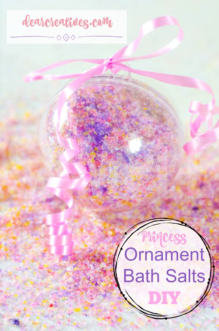 Princess Christmas Bath Salts this DIY beauty recipe | This can be a homemade gift for the holidays, take away gifts for bridal or baby showers, or girl's princess birthday parties. I love this recipe. See more at DearCreatives.com