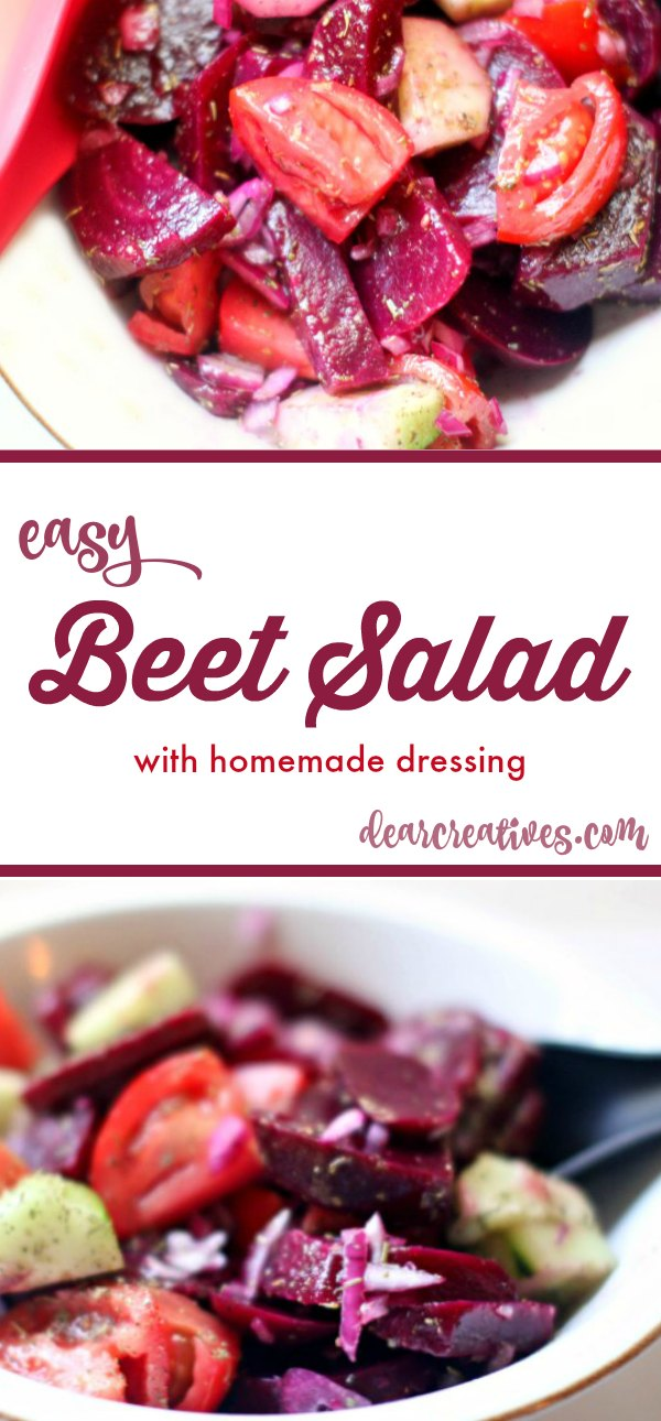 Beet Salad With Cucumbers, Tomatoes + Homemade Balsamic Vinaigrette