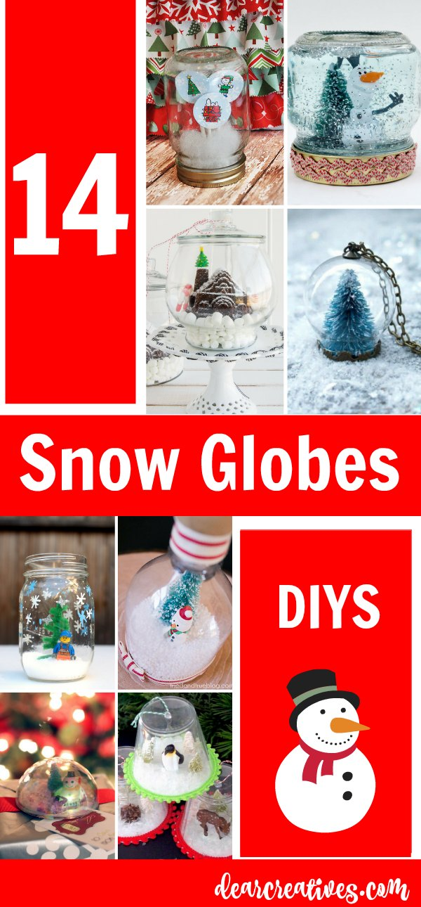 Snow Globe Crafts 14 snow globe diy and craft projects. These are awesome ideas for the holidays. Ideas for winter crafts and Christmas crafts. See them all at DearCreatives.com