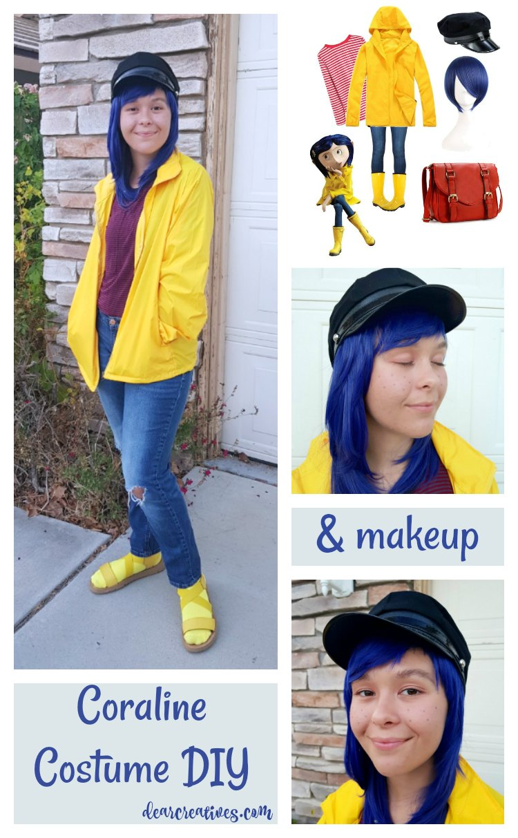 Coraline Costume DIY and Makeup See how to make this easy last minute costume for Halloween or Cosplay. Find out more at DearCreatives.com