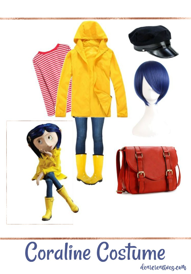 Coraline Halloween Costume Idea this can be an easy last minute Halloween costume or for  sc 1 st  Dear Creatives & Easy No Sew DIY Coraline Halloween Costume
