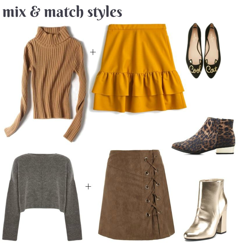 Not sure what to wear for fall Try these Mix and match styles for fall skirts, sweaters, booties..... See them all at DearCreatives.com