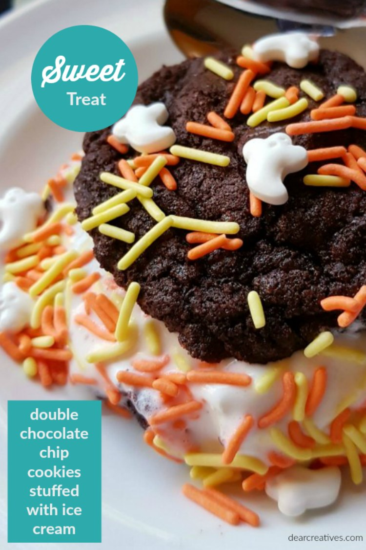 Treat Recipe Double Chocolate Chip Cookies stuffed with Ice Cream. Make it for Halloween or swap out sprinkles for other seasons. You'll love this sweet treat! DearCreatives.com