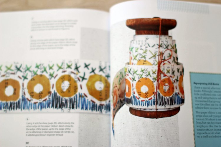 hand stitched and stamped ribbon The Hand Stitched Surface craft book review - DearCreatives.com